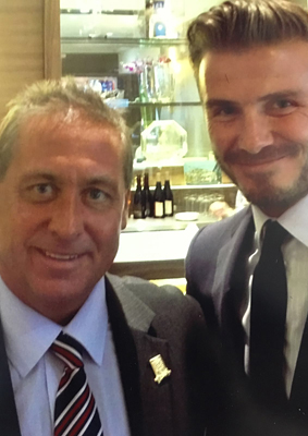 Me and former England captain David Beckham, in Arsenal's directors' box